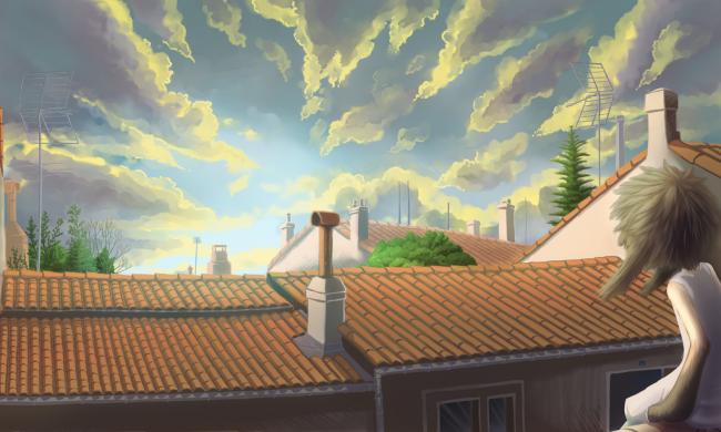 En haut des toits