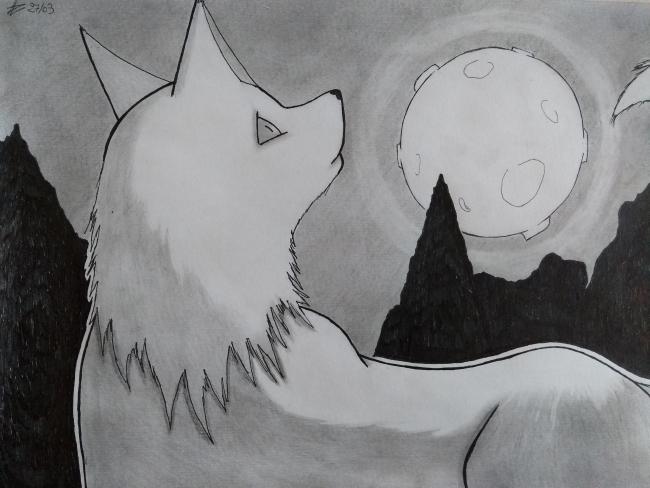 Chien au clair de lune